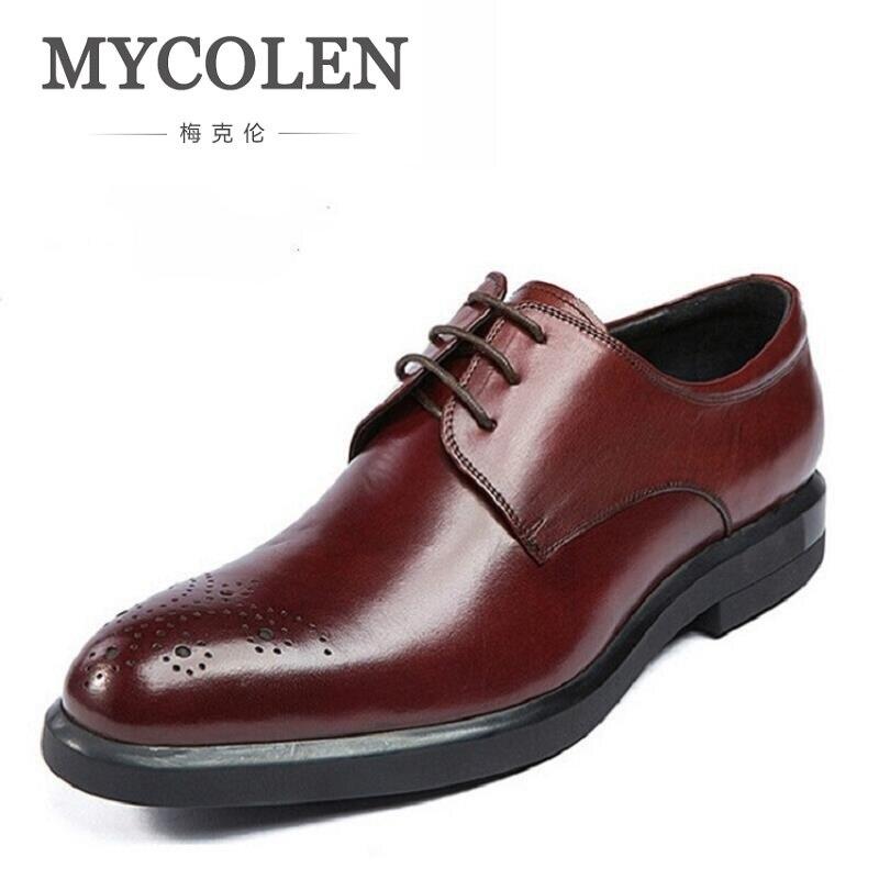 Oxford Derby Negro Mycolen Tallado De Partido Nuevo Zapatos Formal 2018  Tinto Oficina vino Brogue Para Cuero ... 422e93d303f4