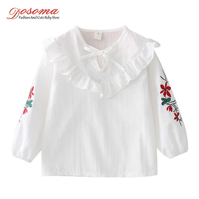 5ec51f5b66f Dosoma 2018 весенние милые блузки для девочек цветок Вышивка блузки для  девочек с длинными рукавами детские