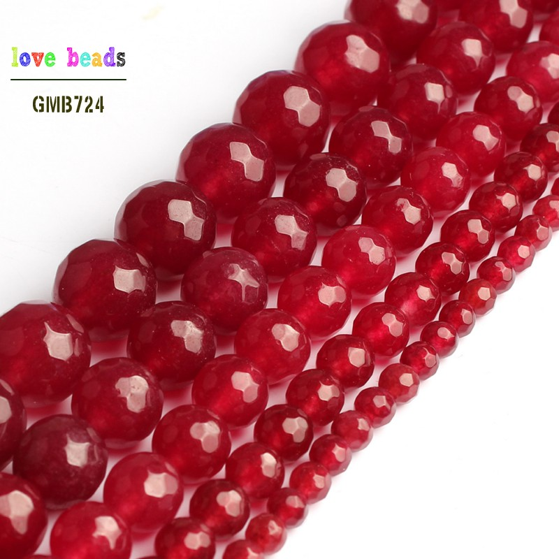 Faceted Red Chalcedony Stone Round Beads for Jewelry Making 15'' Strand DIY Bracelet Jewellery 6mm 8mm 10mm 12mm