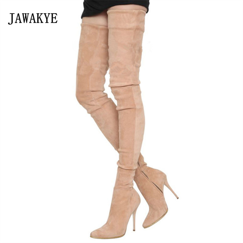 JAWAKYE Sexy Over The Knee Boots Women Pointed Toe High Heel Shoes Woman Fashion Stretch Thigh Boots 2018 jawakye black wool knit sock boots women pointed toe rhinestone heel stretch long boots woman fashion over the knee boots