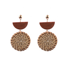 Temperament Ethnic Boho Hanging Dangle Drop Earrings for Women Primary Color Handmade Bamboo Braid Wooden