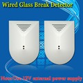 Free Shipping!2 Pcs/lot Wired Glass Break Detector Sensor for Home Burglar Alarm Adjustable Sensitivity