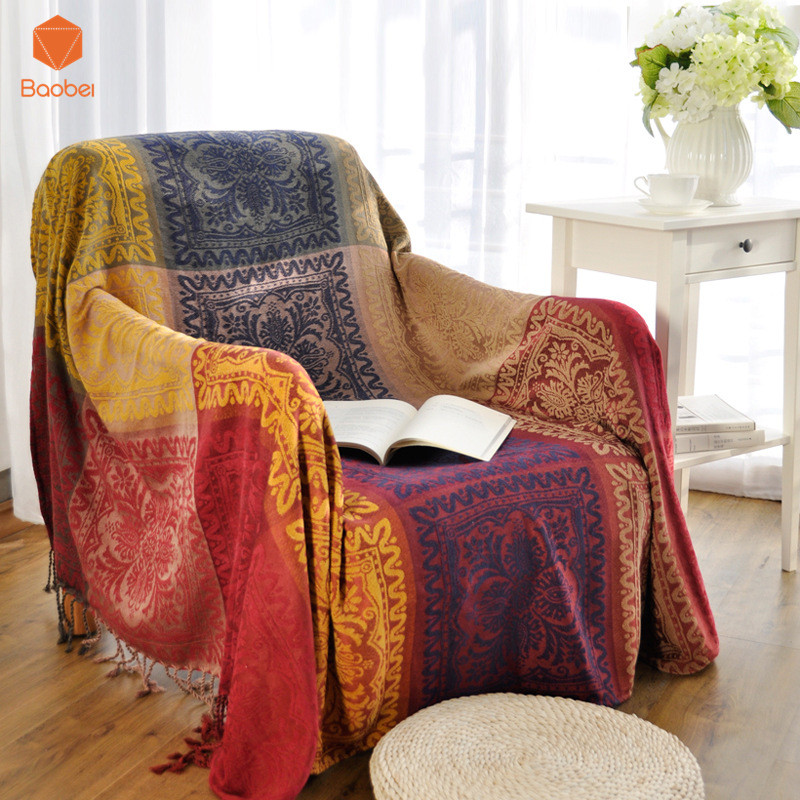 Bohemian Chenille blanket sofa decorative slipcover Throws on Sofa/Bed/Plane Travel Plaids Rectangular color stitching SF19