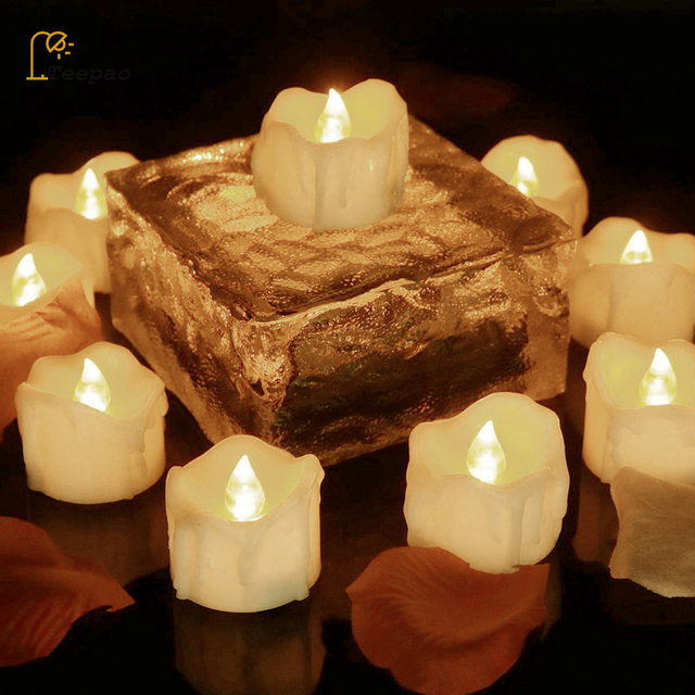 12Pcs/set Electric Battery Powered Tealight Candles Flameless LED light Candle with Flickering Timing Function For Wedding Party