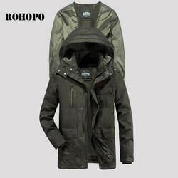 ROHOPO мужские парки хлопковый топ теплое пальто мягкая оболочка флисовая подкладка 100% хлопок мужские парки куртка мужская Военная широкая