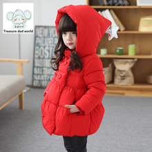 Treasure dad world Girls winter coat 2017 Winter jackets for girls cuties thickened Hooded Jacket Kids 3-8Y baby jacket reima(China)