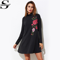 Sheinside Embroidered Flower Patch Swing Tee Dress Black High Neck Long Sleeve A Line Plain Dresses