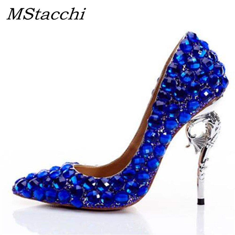 Party Heel König Mstacchi Bling Diamanten Foto Echt Custom Frau Strass Blau Schuhe Hochzeit High Heels 0wAYwqB