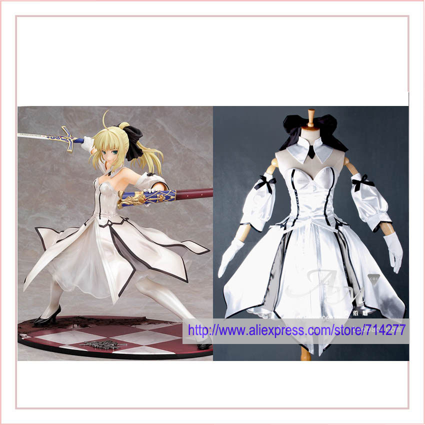 Free shipping Custom cheap saber lily cosplay Costum white from Fate Stay Night Anime clothing Christmas