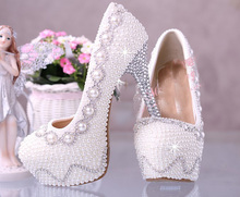2016  Handmade  White Wedding Bridal Dress Shoes Custom-made Super High heel 14cm Fashion Lady Shoes  Party Dress Shoes women