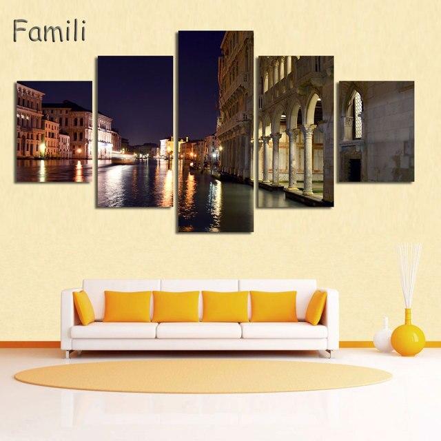 5Panel Landscape Venice City Canvas Paintings Print On Canvas ...