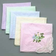 Square 28cm Ladies Cotton Plain Thin Handkerchief Sweat-absorbent Soft Delicate Butterfly Embroidered Handkerchiefs Woman Gift