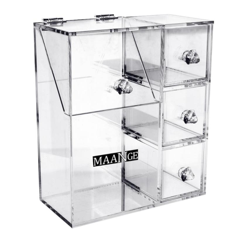 Clear Acrylic Cosmetic Tools Container Storage Box Acrylic Cosmetic Case Multi Grids Drawers Clear Makeup Brush Storage Case acrylic cosmetics makeup and jewelry storage box 3 small drawers space saving