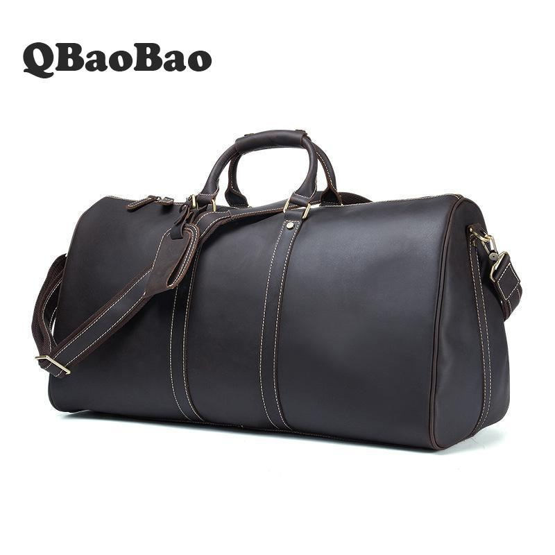 Crazy Horse Leather Men Travel Bags Luggage Cowhide Tote Handbag Genuine Leather Duffle Bag Male Vintage Luggage