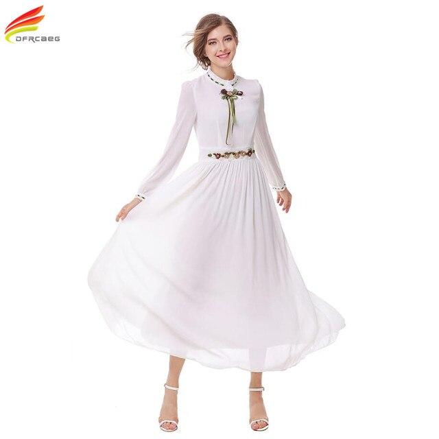 64c705b68d79 Vestito lungo Chiffon Elegante Abbigliamento Donna 2018 Autunno Nuovo  Arrivo Manica Lunga Vestito Dal Fiore Del