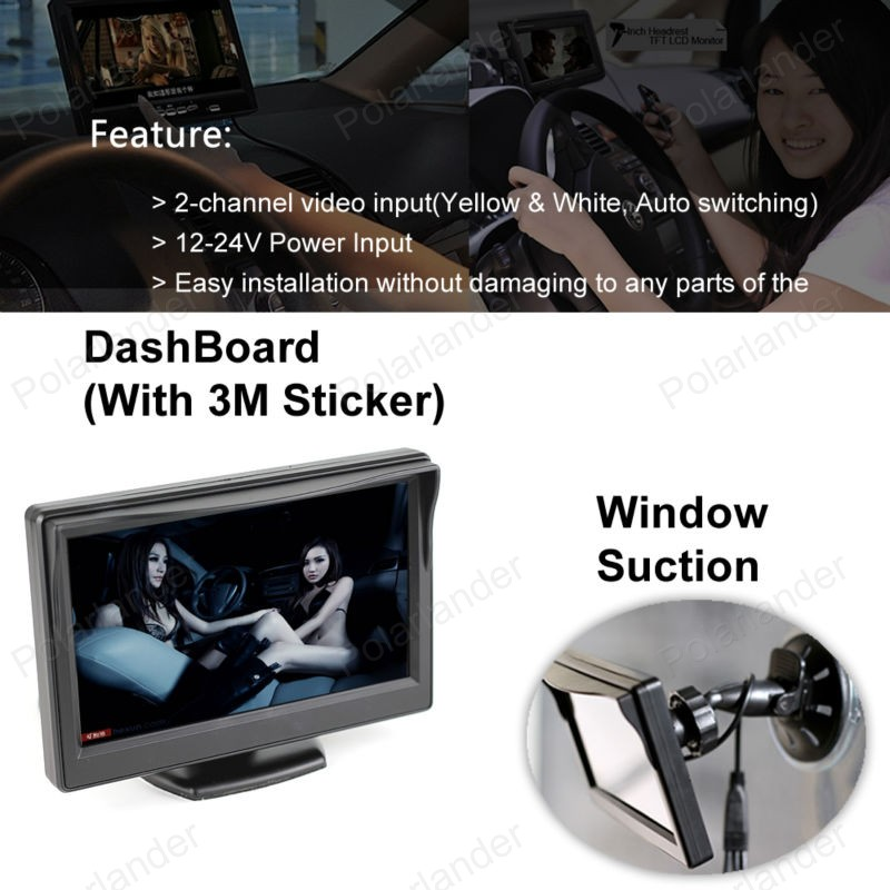 for Car Rear View Camera Parking KIT 2CH Video Input Built in Transmitter 12 24V Car Truck 5 inch TFT LCD Wireless Monitor sale