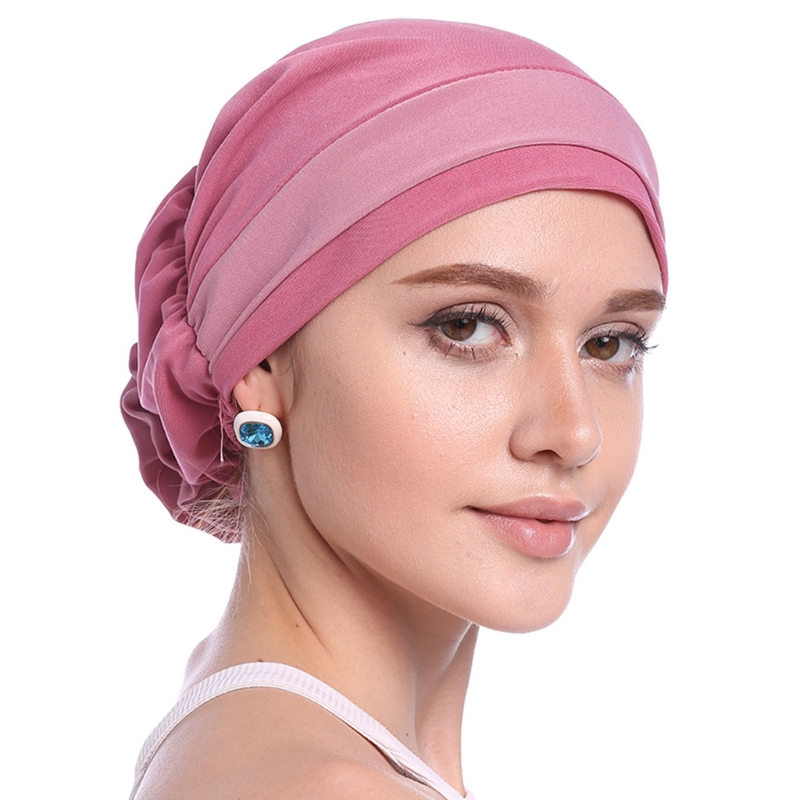 Image 5 - Fashion Womens Elegant Stretchy Flower Block Color Muslim Turban  Chemo Cancer Cap Beanie Hat Hot New Design 10 Colors 2018Womens  Skullies