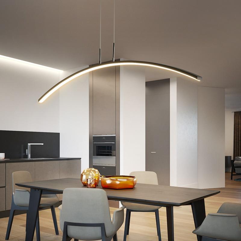 Length 1200mm ARC Shape White or Black led Hanging lamp Modern led pendant Lights for Dining Room Bar Kitchen Room Pendant Lamp