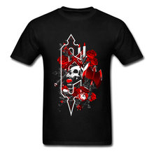 Mens T-Shirt Red Rose Metal Skull Geek Gray Skull Mask Tshirt For Men City Horrible Night Alone T Shirt 3D Graphic Tee Shirt Men(China)