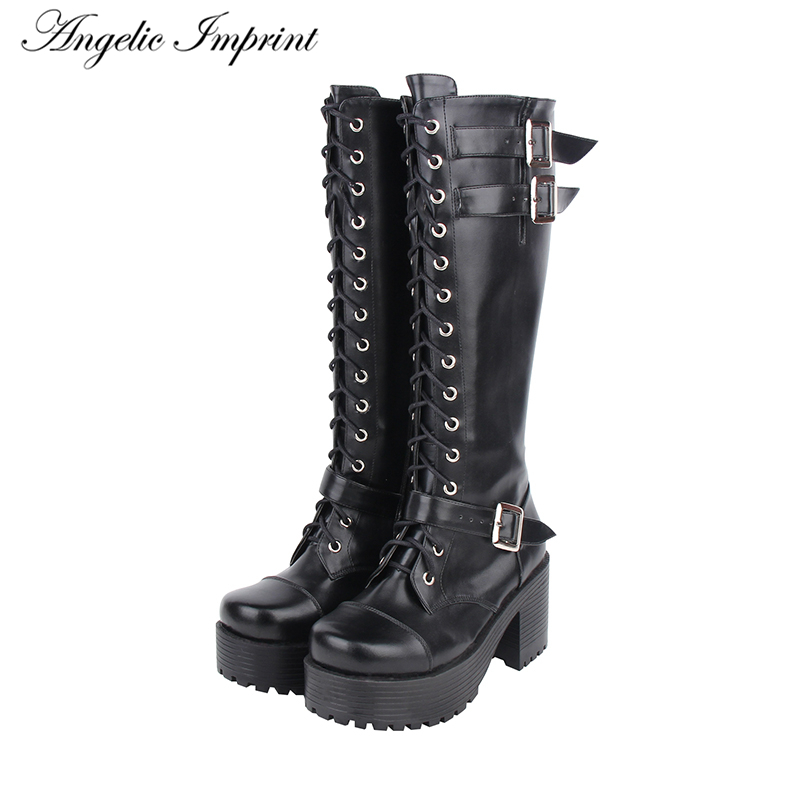 Hot Sale Lace-up Knee High Boots Buckle Straps Thick Platform High Heel Punk Boots