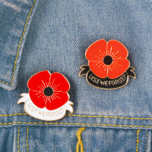Xedz Perhiasan Merah Poppy Pin Mengingat Minggu Bros Hari Veteran Kerah Pin Memorial Day Bunga Perhiasan(China)