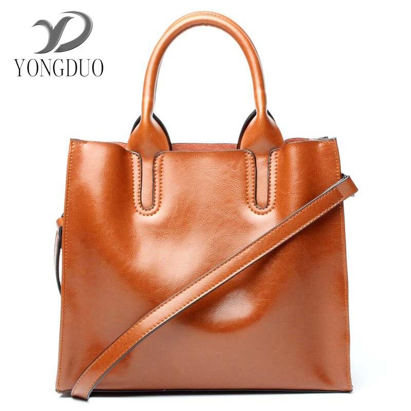 YONGDUO brand 2017 women genuine leather bag Women's messenger bags tote handbags women famous brands high quality shoulder bag