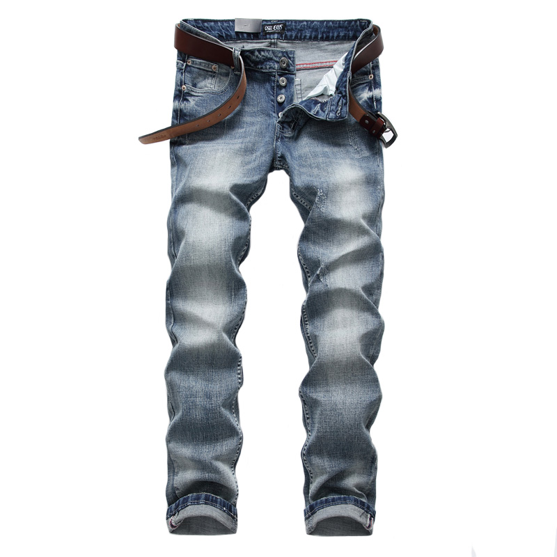 Italian Style Retro Design Mens Jeans Light Blue Color Slim Fit Denim Buttons Jeans Men Pants DSEL Brand Stretch Skinny Jeans men s cowboy jeans fashion blue jeans pant men plus sizes regular slim fit denim jean pants male high quality brand jeans