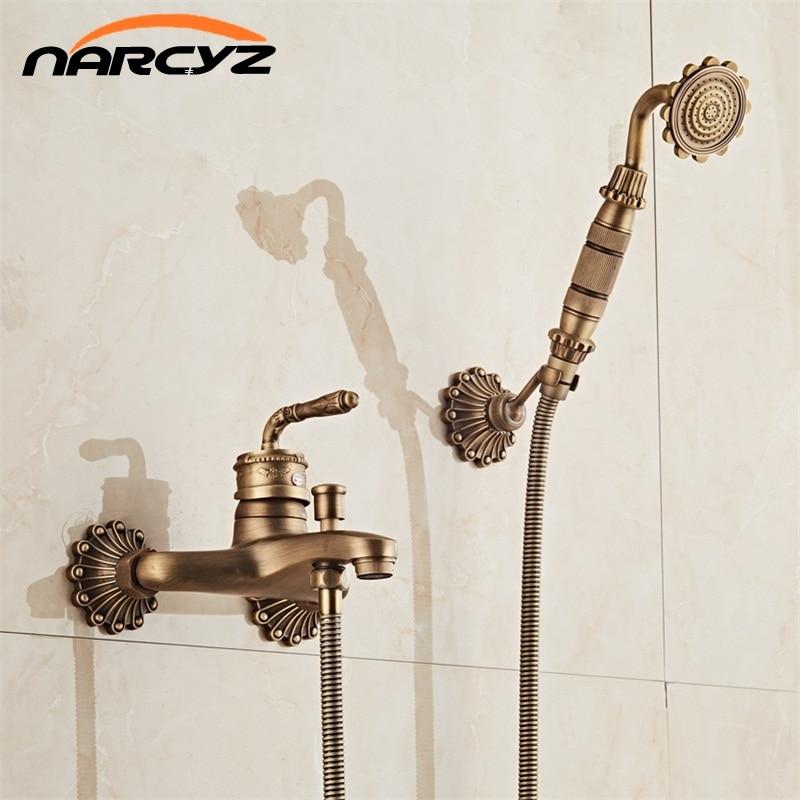 European Style Antique Retro Bathroom Shower Faucet Copper Brass Luxury Shower Set with Hand Shower Antique Bathtub Crane XT332 phasat 4411 retro style copper triangle valve antique brass