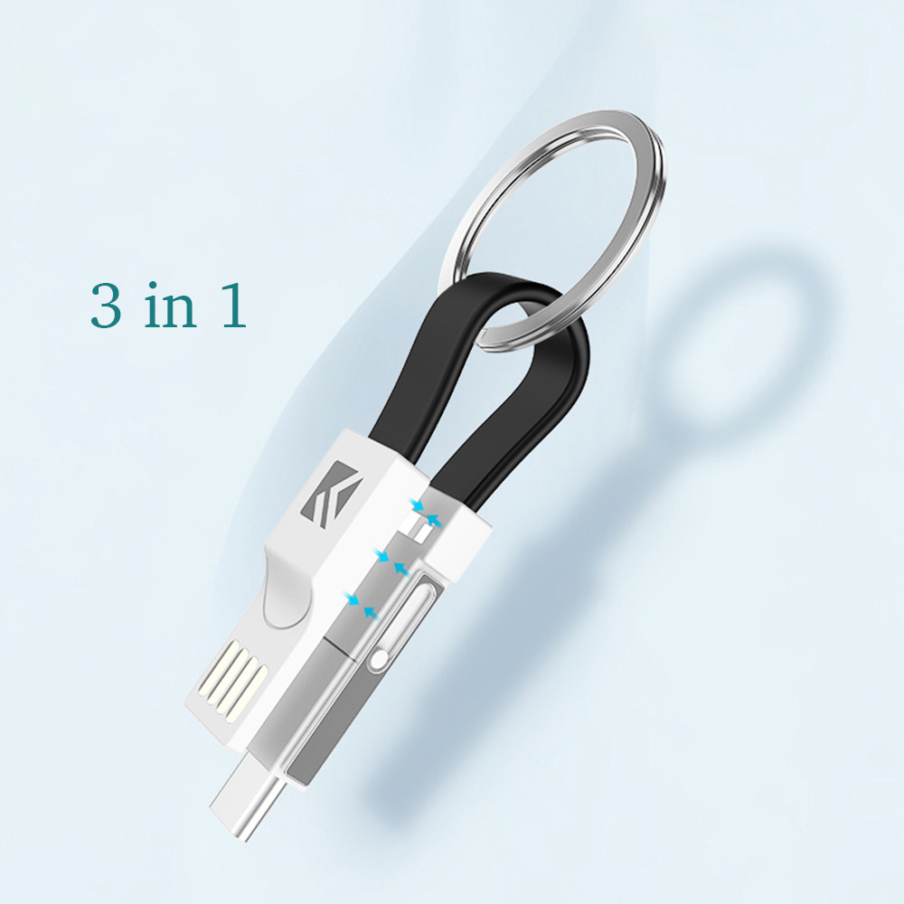 Eunaimee 5packs 3 In 1 Short Lightning Usb Noodle Cable Charger Cord Adapter Keychain For Phone Android Type C Micro Usb Computer & Office