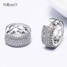 Boucles d'oreilles rondes couleur or blanc pour femmes, bijoux de luxe en cristal de zircone cubique, AAA