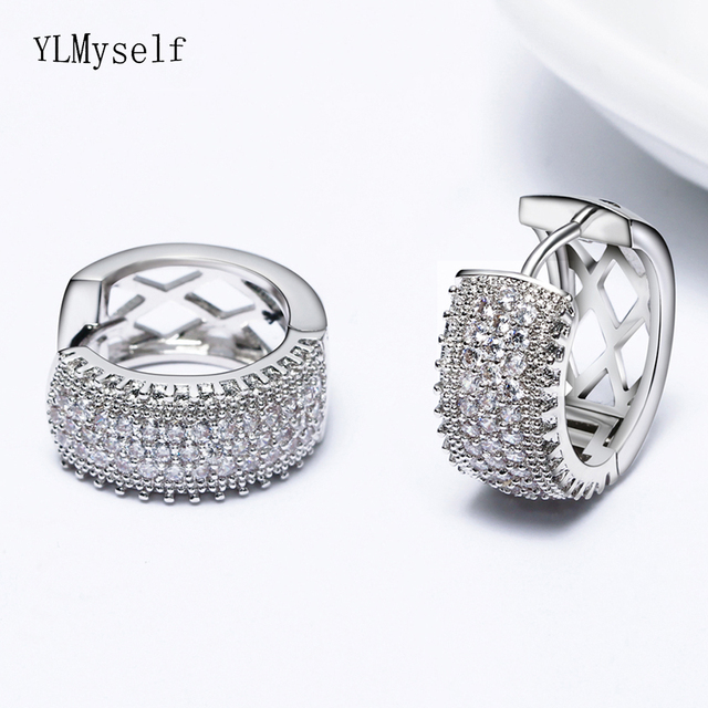 Woman White Gold color round earring pave AAA Cubic Zirconia crystal fashion jewelry Luxury Circle Hoop Earrings for women
