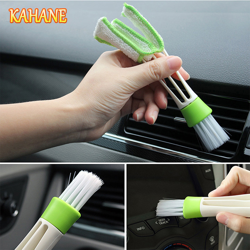 KAHANE Double-Head Car Cleaning Brush Tools Duster Auto Cleaning Accessories Products FOR Audi A3 A4 B6 A6 C5 C6 B8 B7 B5 S3 S4
