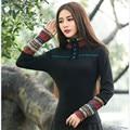 Outono da Longo-luva de Slim T Camisa Mulheres Patchwork Gola de Algodão Bordado Do Vintage Básico Pullovers Tamanho Grande