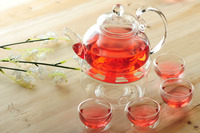 Beautiful 600ml Glass teapot with infuser/filter+ 4/6 Cups + Warmer+candle,tea set brew herbal/flower/Loose leaf/puer tea