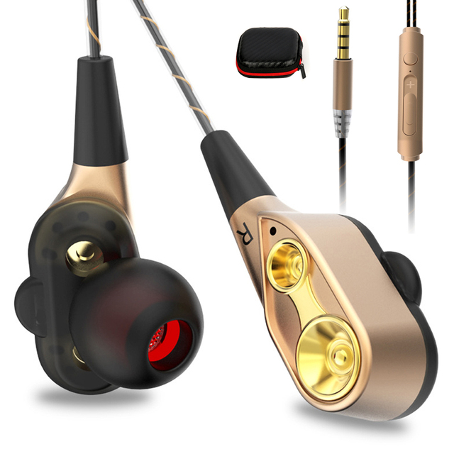 LOPPO V3 Wired earphone High bass dual drive stereo In-Ear Earphones With Microphone Computer earbuds For Phone Sport
