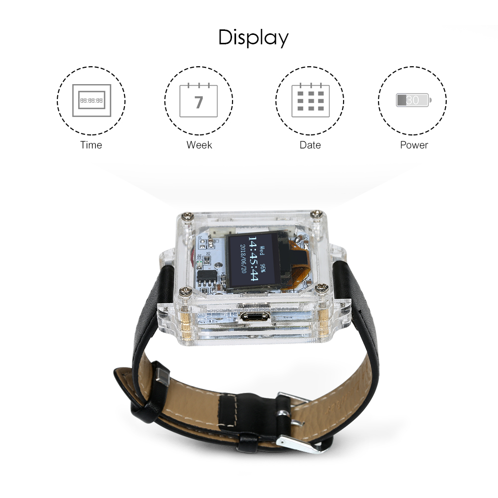 Digital Watch Electronic Clock Kit Single Chip Transparent Led Electronics Circuit Displays And Timing For Board Computer Diy Tube Wristwatch In Instrument Parts