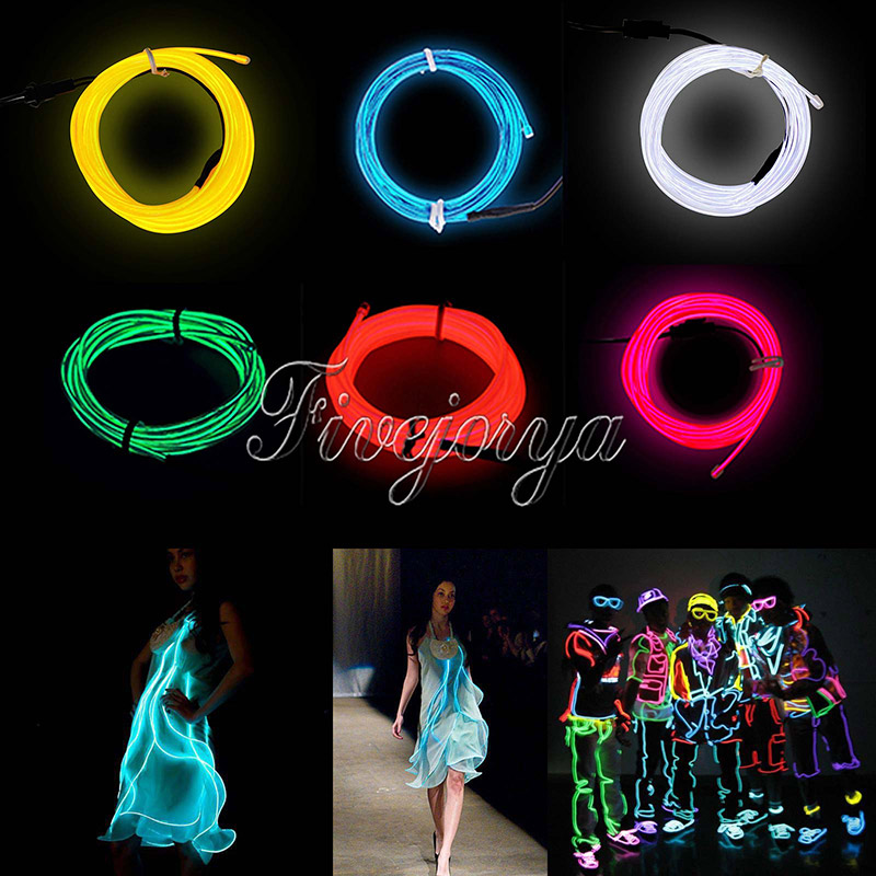 3M EL Wire Rope Flexible Neon LED Light Glow Battery Power Wedding Party Decorations Supply Accessories 6 Colors