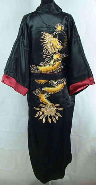 可逆繁体字中国語男性シルクレーヨンローブ両面着物ガウン刺繍ドラゴンパジャマでベルトワンサイズMR089
