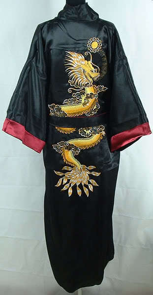 Reversible Traditional Chinese Men Silk Rayon Robe Two Side Kimono Gown Embroidery Dragon Sleepwear With Belt