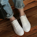 2017 new women's fashion spring summer style casual leather flats shoes women white solid lace-up round toe shoes CX0039