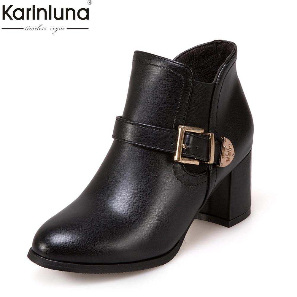 Karinluna Woman Shoes Buckle Ankle-Boots Thick-Heels Elegant Black Plus-Size Strap Red