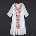 2017 Mexican embroidered large size loose summer short White Black Chiffon dress women 1720LY Free Shipping