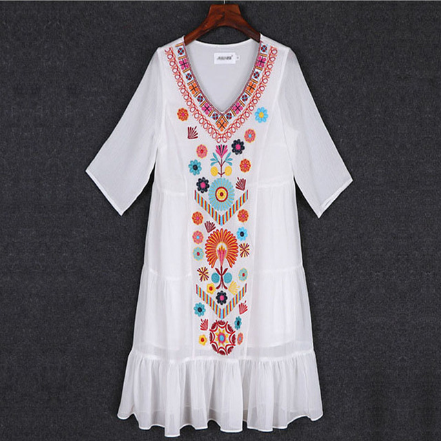 2018 Mexican Embroidered Large Size Loose Summer Short White Black Chiffon Dress Women 1720ly Free Shipping