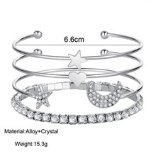 Gold Silver Crystal 4pcs/set Charm Bracelets & Bangles For Women Star With Moon Heart Love Bangle Boho Indian Jewelry Pulseras