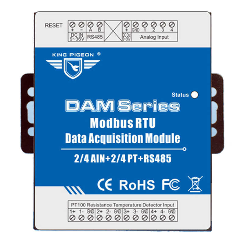 Industrial Grade Remote IO Module RTU for Industrial Energy Monitor & Flow Meter AIN+Temperature Modbus RTU Remote IO DAM124