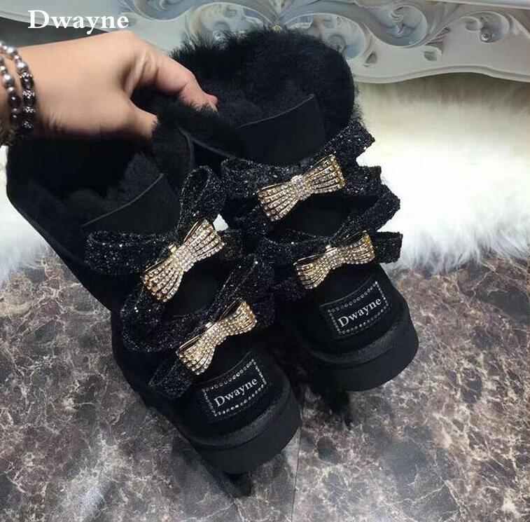 2018 Australia style Winter Women Snow Boots two diamond bows Winter Boots Women Genuine sheep Leather and real fur boots