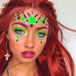 Karanlık Aydınlık Yüz Mücevher Mücevher Geçici Çıkartmalar Kadınlar 2019 Yeni Gece Kulübü Festivali Parti Vücut Mücevher Taklidi Etiket
