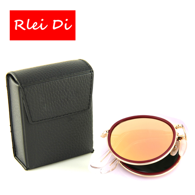 RLEI DI High Quality Brand Round Foldable Top Grade Sunglasses Men Women Gold Frame Flash Pink Glass Lens UV400 with Small Case