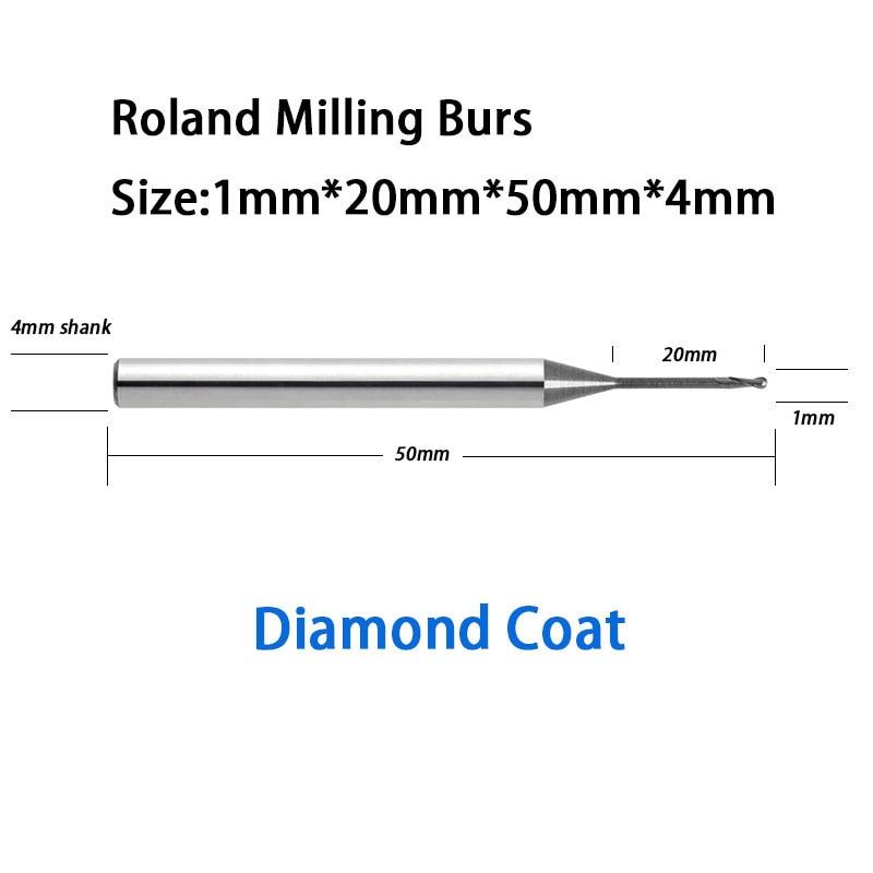 1.0mm 20mm reach effect length Roland D50, 51D Milling burs Diamond Coat for Zirconia, Wax, PMMA, etc roland m cube gxr