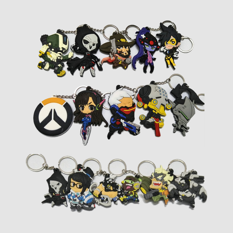 2018 New Overwatch Keychain Pendant Cute Cartoon Soft PVC Key Chain 16 Styles Jewelry Souvenirs Gift Key Ring